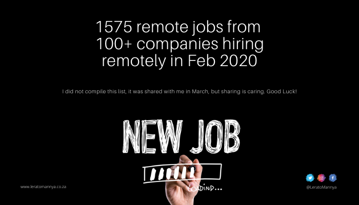 1575 Remote Jobs From 100+ Companies Hiring Remotely in 2020